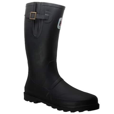 Mens Expandable Calf Rubber Boot Black
