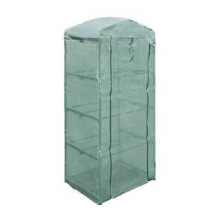 ALEKO Greenhouse 27X19X63in Waterproof PE Mesh Cloth 4 Tier Plant Shed - Green