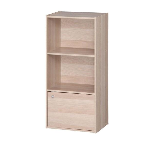 IRIS 3-tier Light Brown Wood Storage Shelf with Door  sc 1 st  Overstock.com & IRIS 3-tier Light Brown Wood Storage Shelf with Door - Free Shipping ...