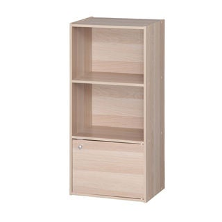 IRIS 3-tier Light Brown Wood Storage Shelf with Door