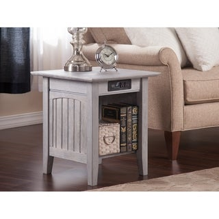 Nantucket End Table with Charger Driftwood Grey
