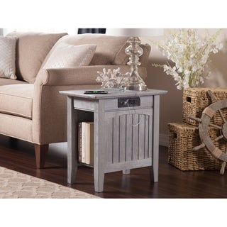 Nantucket Chair Side Table with Charging Station in Driftwood