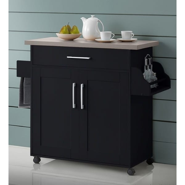 Hodedah Mobile Kitchen Island with Spice Rack and Towel Rack
