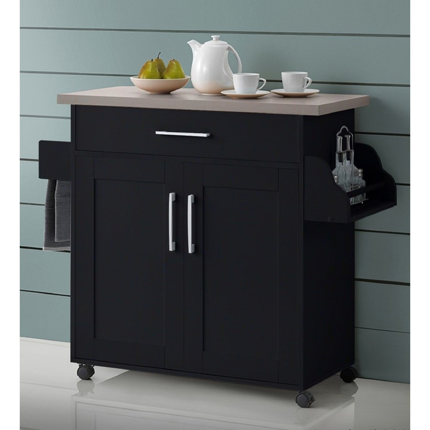 Hodedah Mobile Kitchen Island with Spice Rack and Towel R...