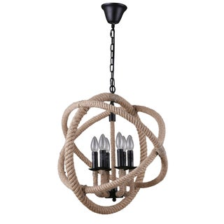 Journee Home Cartago Hemp Rope and Iron 21-inch Chandelier