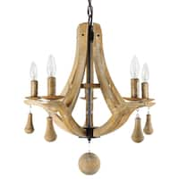 Journee Home Collection 'Nantes' Brown Wood/Iron 20-inch Hardwired Chandelier