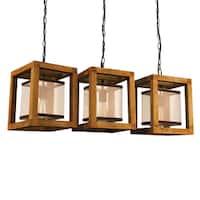 Journee Collection Newport Wood/Mesh 32-inch Hardwired Island Chandelier
