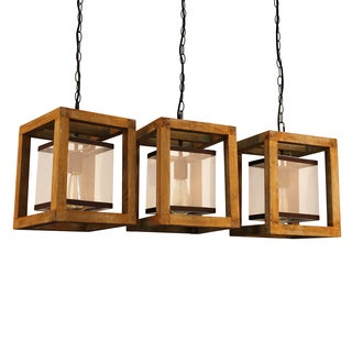 Journee Collection Newport Wood/Mesh 32-inch Hardwired Island Chandelier