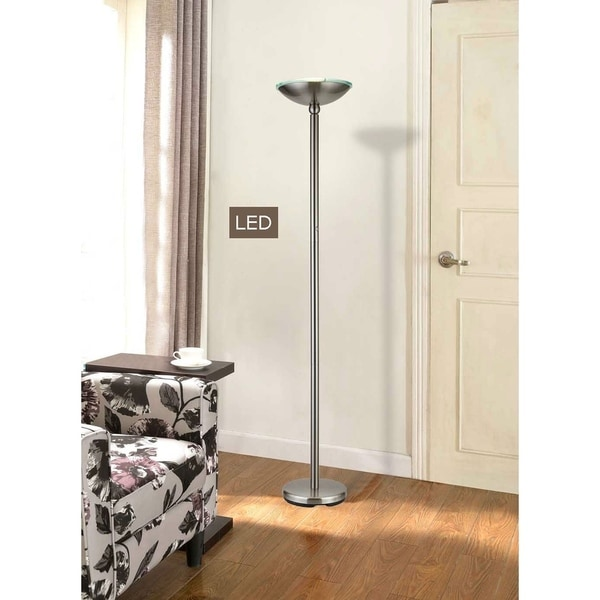 """Artiva USA Saturn 71"""" Brushed Steel LED Torchiere Floor Lamp w/ Dimmer"""