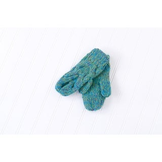 Tickled Pink Multicolored Chunky Cable Knit Mittens - Green