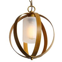 Journee Home 'Florence' Metal Glass 12-inch Hard Wired Pendant Lamp
