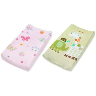 Summer Infant Plush Pals Changing Pad Cover, 2 Pack, Butterfly/Safari