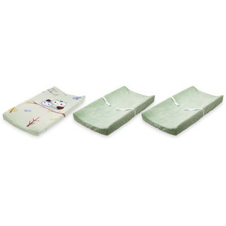 Summer Infant Ultra Plush Changing Pad Covers, 3 Pack, Sage/Owls