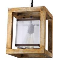 Journee Home Filemot Light Brown Wood 12-inch Hardwired Pendant Lamp