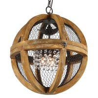 Journee Collection Rimini Wood/Iron/Acrylic 18-inch Hardwired Chandelier