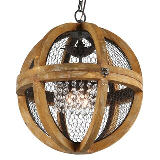 Journee Collection Rimini Wood/Iron/Acrylic 18-inch Hardwired Chandelier (2 options available)
