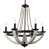 Journee Home 'Treviso' Wood and Iron 26-inch Hardwired Chandelier