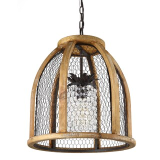 Journee Home Hurston Wood/Iron/Acrylic 18-inch Hardwired Chandelier (2 options available)