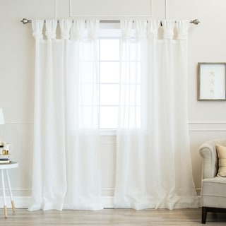 Aurora Home Twisted Tab Faux Linen Curtain Panels (Set of 2)