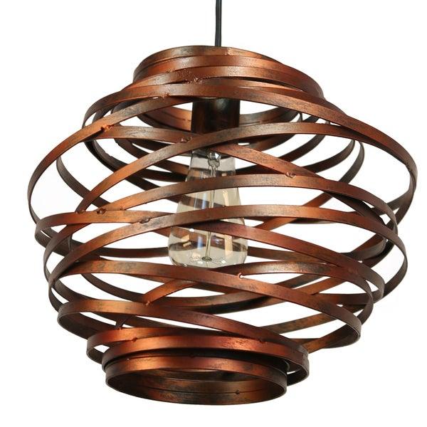 Journee Collection Amalfi Iron 12-inch Hardwired Pendant Lamp