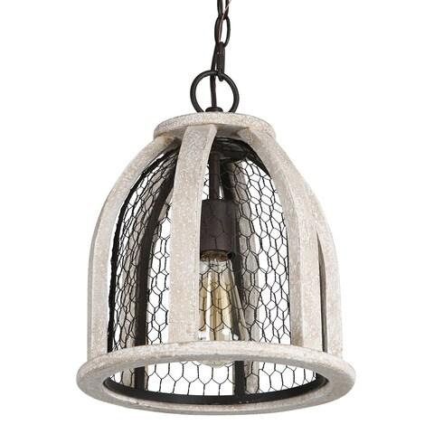 Journee Home 'Hugo' Wood Iron 12-inch Hardwired Pendant Lamp