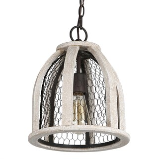 Journee Home 'Hugo' Wood Iron 12-inch Hardwired Pendant Lamp (2 options available)