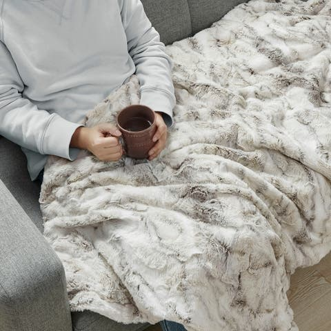 Madison Park Aina Oversized Faux Fur Marble Printed Knitted Throw