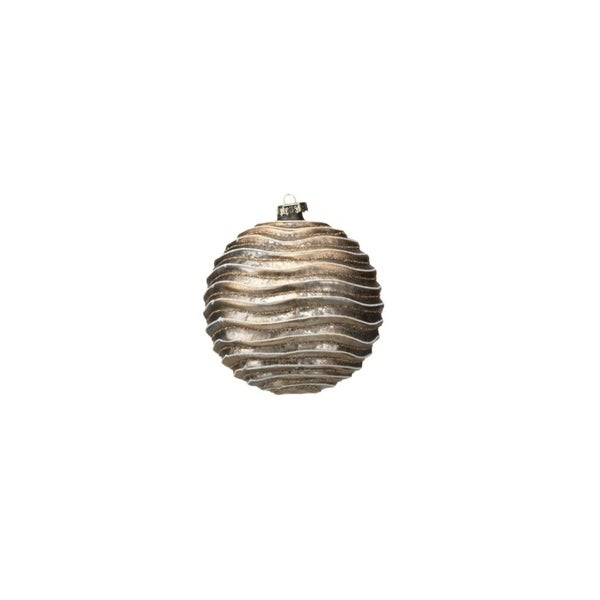Large Holiday Ball Christmas Ornament, Wave Design, Gold and Glitter (Set of 4)
