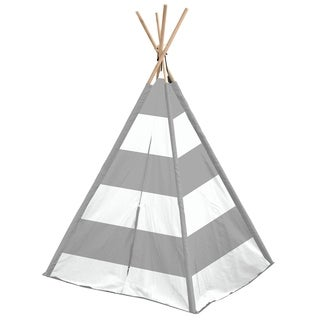 Grey and White Striped Kids TeePee Tent