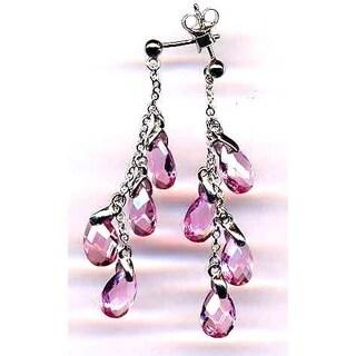 Luxiro Sterling Silver Pink Cubic Zirconia Dangle Earrings