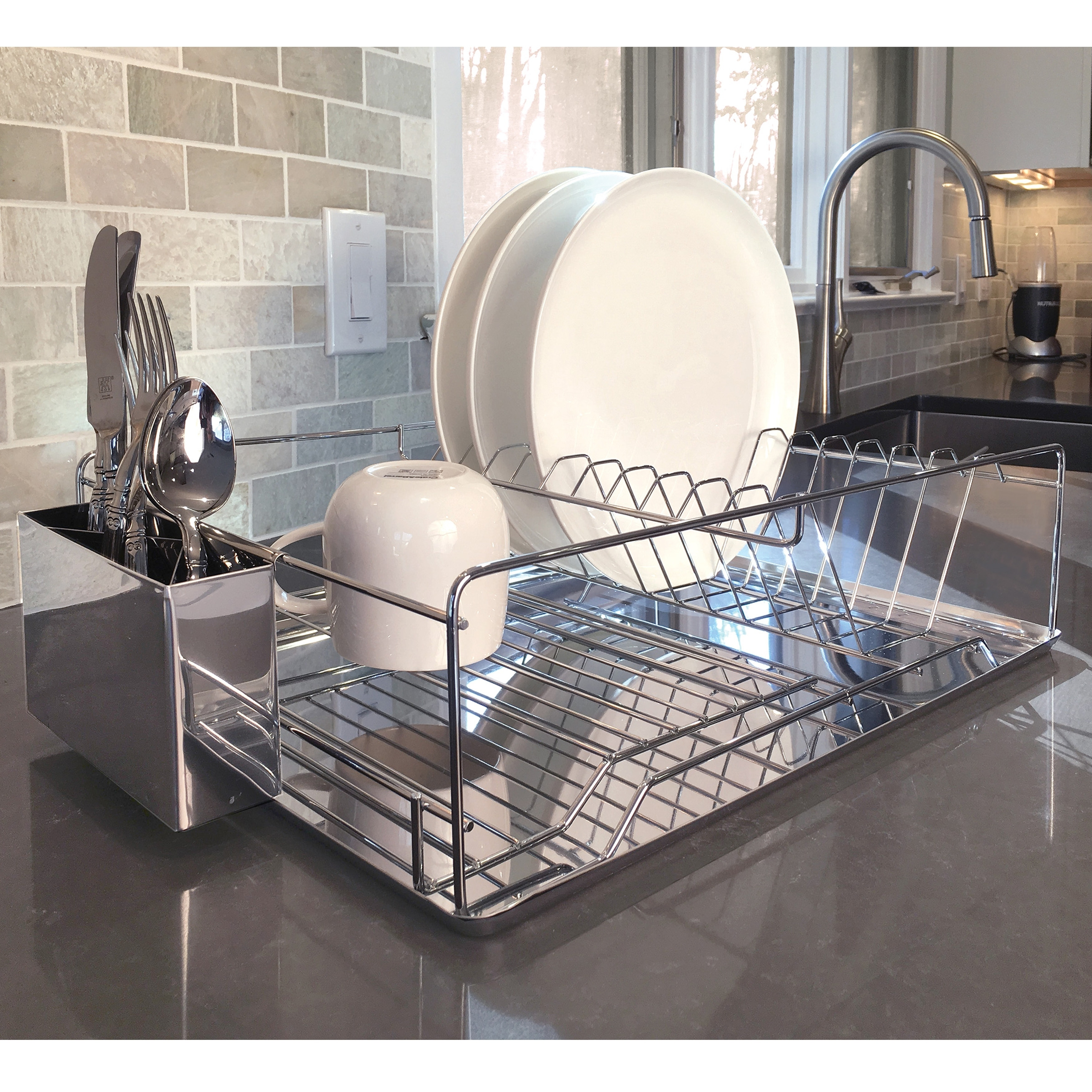 Shop Modern Kitchen Chrome Plated 2 Tier Dish Drying Rack And