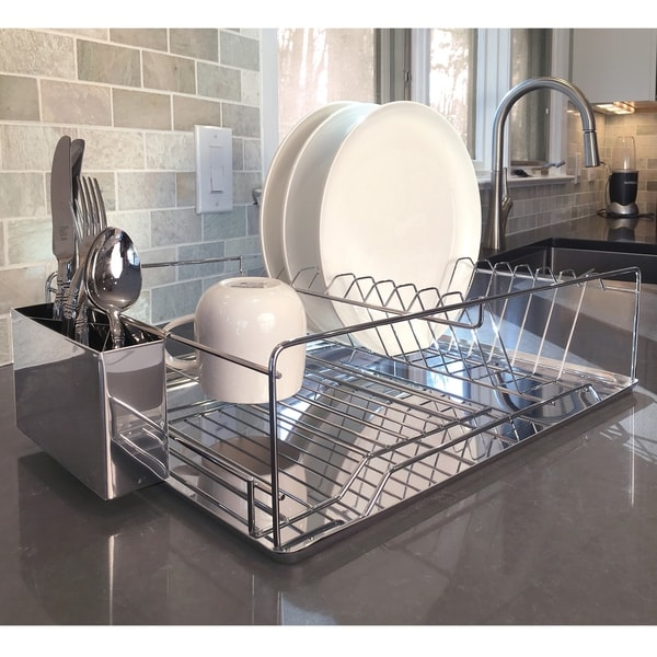 shop modern kitchen chrome plated 2 tier dish drying rack and draining board organized utensil. Black Bedroom Furniture Sets. Home Design Ideas