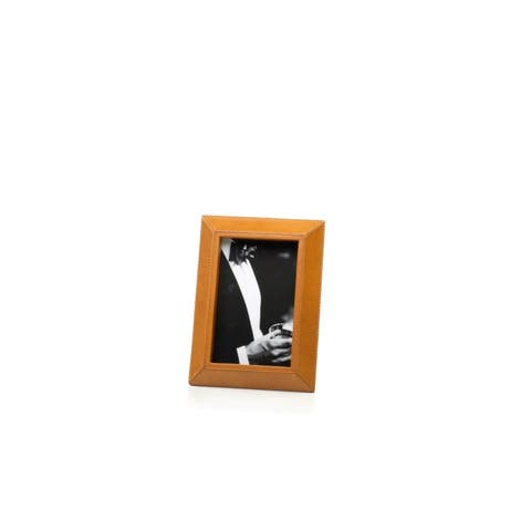 """4"""" x 6"""" Leather Picture Frame, Tan"""