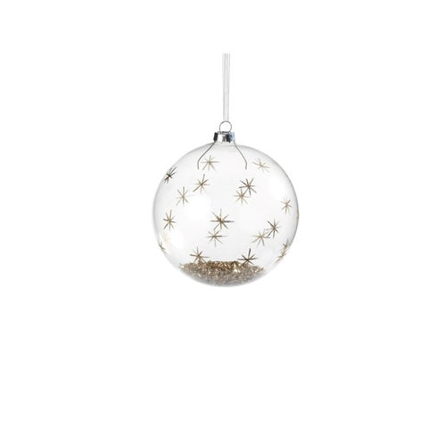 Clear Holiday Ball Christmas Ornament, Star Pattern Gold and Glitter (Set of 4)