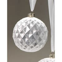 Medium Holiday Ball Christmas Ornament, Diamond Cut Silver (Set of 6)