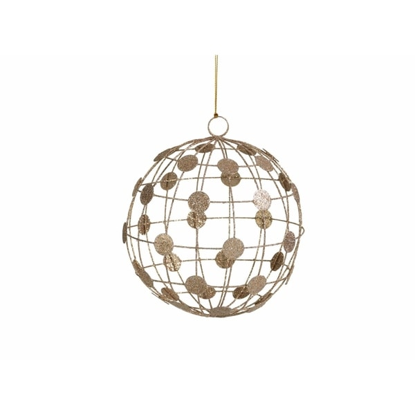 Hanging Christmas Ball Ornament, Champagne Dots on Wire Pattern (Set of 6)