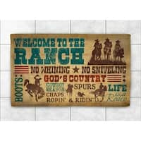 Laural Home Rodeo Words Accent Rug - Brown/Blue - 2' x 3'