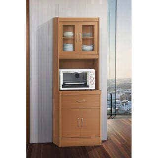 Hodedah Kitchen China Cabinet (Option: Beige - Beech)