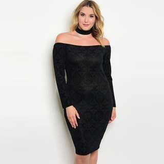 Shop The Trends Women's Plus Size Long Sleeve Off The Shoulder Dress With Choker Neckline And Bodycon Fit