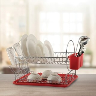 Deluxe Chrome-plated Steel 2-Tier Dish Rack with Drainboard / Cutlery Cup (RedII) - Red