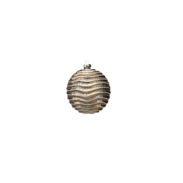 Medium Holiday Ball Christmas Ornament, Wave Design, Gold and Glitter (Set of 6)