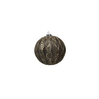 Large Holiday Ball Christmas Ornament, Paillette Gray (Set of 4)