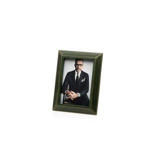"""5"""" x 7"""" Leather Picture Frame, Green"""