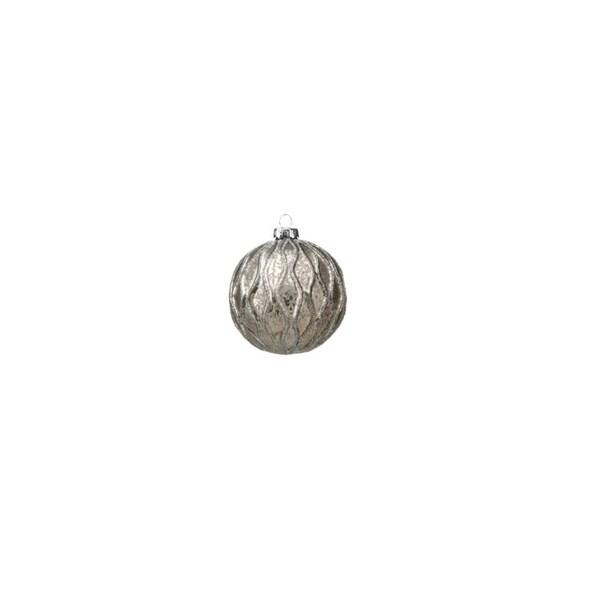 Small Holiday Ball Christmas Ornament, Silver and Gray (Set of 6)