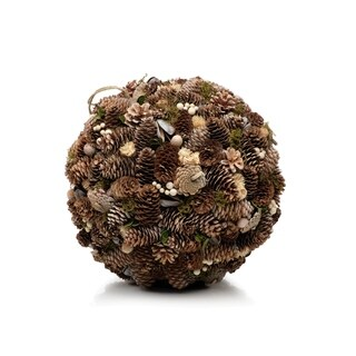 Large Hanging Ball Christmas Ornament, Assorted Pinecone (Set of 2)