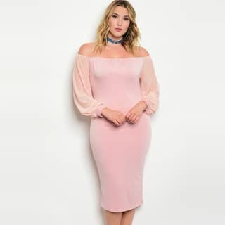 Shop The Trends Women's Plus Size Long Sleeve Off Shoulder Dress With Sheer And Loose Sleeves https://ak1.ostkcdn.com/images/products/17166130/P23428801.jpg?impolicy=medium