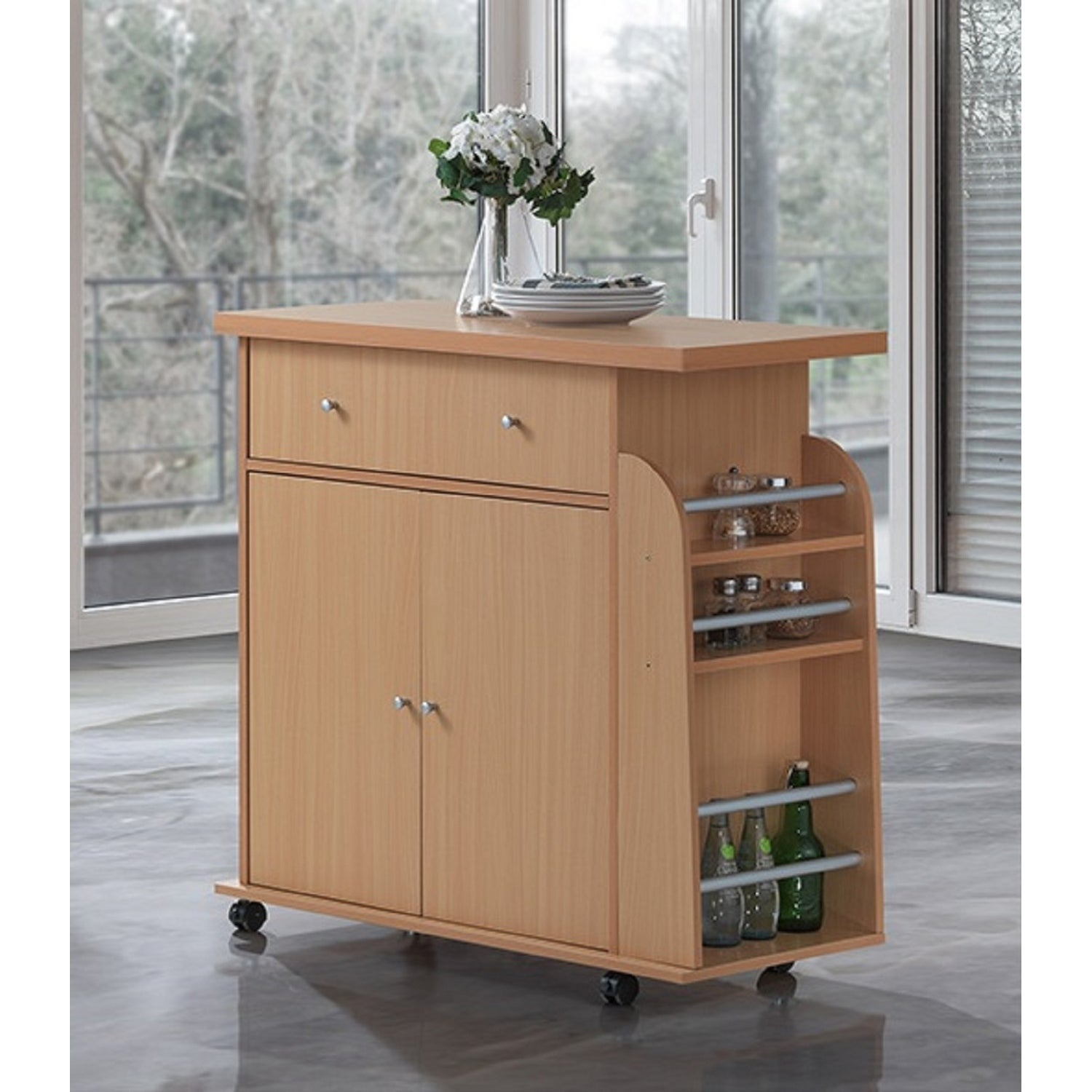 Hodedah Modern Mobile Kitchen Island with Spice Rack and ...