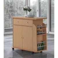 Porch & Den Old Fourth Ward Morgan Modern Mobile Kitchen Island with Spice Rack and Towel Rack