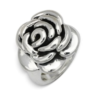 Sterling Silver Electroform Antiqued Large Flower Ring - White