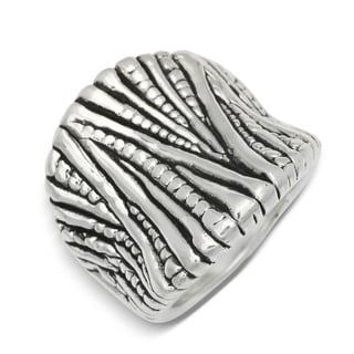 Sterling Silver Electroform Beaded Ridged Concave Cigar Band Ring - White